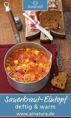 Deftiger Sauerkraut-Eintopf You are in the right place about Healthy Drinks no sugar Here we offer you the most beautiful pictures about the Healthy Drinks Seafood Recipes, Soup Recipes, Vegan Recipes, Vegan Soup, Vegetarian, Mediterranean Recipes, Diet And Nutrition, Healthy Drinks, Healthy Soup