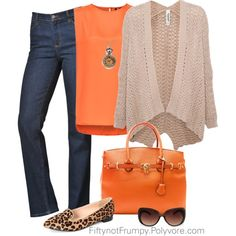"""Orange with Dark Wash Jeans"" by fiftynotfrumpy on Polyvore"
