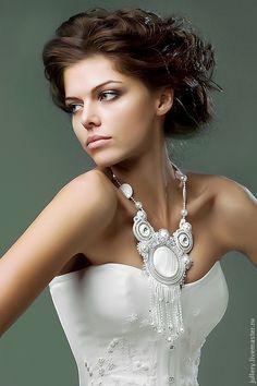 Купить Колье. - колье, свадебное украшение, свадьба 2011, сутажная техника, сутажная вышивка, белый