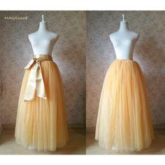 596d4fa13c918 Apricot Elastic Tulle Skirt. Floor Length Maxi Tulle Skirt. Plus Size.