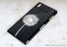 Sony Xperia Z3 Case Dandelion on black wood by boxyArts on Etsy
