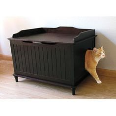 What an interesting idea! An Espresso coloured cat litter box disquised as a nice bench. I bought one for our cat, and my wife and I couldn't be happier now that the littler box is gone, and in its place a nice Espresso bench!