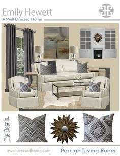 Living Room Online Design Board by Emily Hewett of A Well Dressed Home