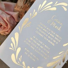 Flower Crown Foiled Wedding Invitation