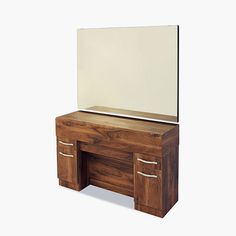 Stylish barbers unit with large mirror, tool drawers and cupboards, available in a choice of laminate colours.