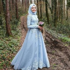 >> Click to Buy << 2016 Light Sky Blue Islamic Wedding Dresses Cheap Muslim Long Sleeves Lace Floor Length Bridal Gowns Custom Made China Vintage #Affiliate