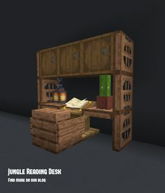 A small minecraft reading desk idea using jungle wood materials. Perfect for small minecraft home ideas! #minecraft Minecraft House Plans, Minecraft Mansion, Minecraft Cottage, Easy Minecraft Houses, Minecraft House Tutorials, Minecraft Room, Minecraft House Designs, Minecraft Decorations, Amazing Minecraft
