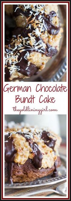 This German chocolate bundt cake recipe is loaded with coconut-pecan frosting and can be a mouth-watering dessert for any occasion! Mini Desserts, Just Desserts, Delicious Desserts, Awesome Desserts, Easy German Chocolate Cake, Chocolate Bundt Cake, Chocolate Cheesecake, Chocolate Ganache, Chocolate Desserts