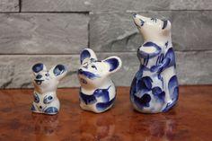 Porcelain Gzhel Snake Figurine Souvenir handmade Russian folk fairy tale