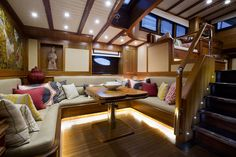 Boat interior - love the pillows.