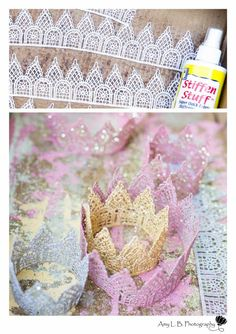 """DIY: Lace Crown for your Princess Party « A Dazzle Day A Dazzle Day. Definitely want to make one of these, just for our """"little king"""" instead. :)"""