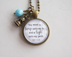 Scripture Necklace  Psalm 119  Christian Jewelry by OxfordBright