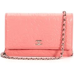 Chanel Pink Embossed Camellia Lambskin Wallet On A Chain (320 BRL) ❤ liked on Polyvore featuring bags, wallets, purses, chanel, bolsas, accessories, red wallet, chanel bags, chain wallet and chanel wallet