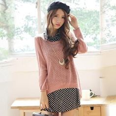 Set: Open-Knit Top + Sleeveless Dotted Long Shirt from #YesStyle <3 Hanee YesStyle.com