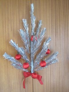 50's Mid Century Modern Aluminum Christmas Tree Door decoration