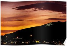 'El Paso's Star on the Mountain' Poster by Ray Chiarello Landscape Quilts, Blank Walls, Top Artists, Mountain, Clouds, Sunset, Stars, Studio, World