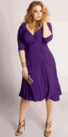 V-necklines, empire waistlines and A-line skirts are all winning combinations in plus size dresses and  plus size evening dresses.  Repin Now!