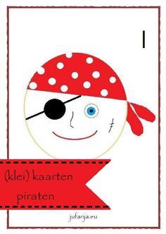 Lesmateriaal bij thema piraten. Geschikt voor groep 1/2/3. Materialen als kleikaarten, poppenkastverhaal, hoekenwerk, spelletjes, kringactiviteiten