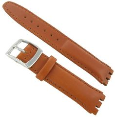 17mm Genuine Oiled Leather Padded Stitched Tan Brown Watch Band Fits Swatch. Water Resistant. Buckle Size: 18mm. Length: 7.75 inches including buckle (Regular). Swatch Fit: Fits Select Gents / Unisex Swatch. Padded, Stitched.