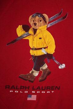 2085b11155c6d9 Ralph Lauren Polo Sport Ski Bear T Shirt - Red - Short Sleeve Large Flag  Skiing
