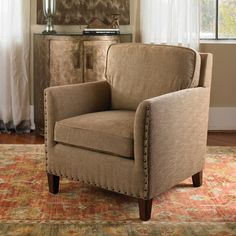 Villamont Home Furnishings best-selling chair, the Keturah Armchair is a great addition for a living room, game room or formal living room. We think the rug beneath the chair look great too? Tuscan Furniture, Accent Furniture, Rustic Furniture, Living Room Furniture, Rustic Italian, Italian Home, Tuscan Wall Decor, Painted Fox Home, Bedroom With Sitting Area