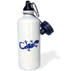 3dRose Blue Spotted Gecko Lizard Art, Sports Water Bottle, 21oz