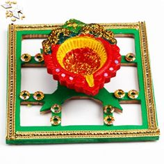 Diya with Diya tray with 500 gms Kaju Katli - Online Shopping for Diyas and Lights by Ghasitaram Gifts