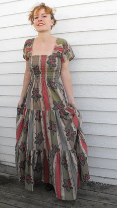 Vintage 70s Smocked Dress Boho Hippie Romantic Floral by soulrust, $79.99
