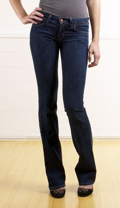 I love dark bootcut jeans ...comfortable, but dressier than light denim