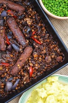 Veggie Sausage, Lentil and Red Pepper Bake. An easy dish, just throw it all into the oven and get on with other things. A great family dish that's so satisfying. Serve with mashed potatoes and peas. Suitable for vegans.