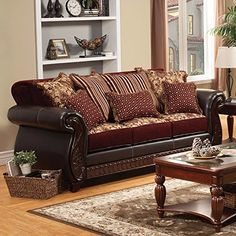 Franklin Traditional Style Sofa in Burgundy and Dark Cherry