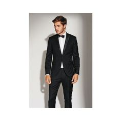 Signature Black Tuxedo Slim Fit Suit Jacket (175 BRL) ❤ liked on Polyvore featuring outerwear, jackets, tux jacket, slim tuxedo jacket, tuxedo jacket, dinner suit and slim fit jacket