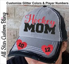 57ebacb425c Hockey Mom Hat with Two Player Number Hearts on Bill