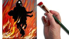 Easy Fire acrylic Painting tutorial Fireman Rescue