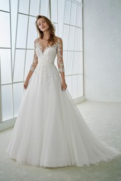 2018 A Line Scoop 3/4 Length Sleeve Tulle With Applique Wedding Dresses US$ 239.99 TDPD27JY1M - TrendProms.com for mobile