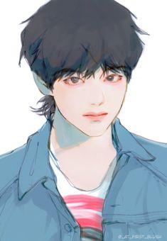 Taehyung - BTS Fanart Character Art, Character Design, Taehyung Fanart, Kpop Drawings, Sad Art, Korean Art, Cute Anime Guys, Art Reference Poses, Kpop Fanart
