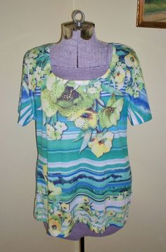 "Springy Women's Size XL JM Collection Tee Top Shirt Tunic 44"" Bust Polyester SEE #JMCollection #Tee #Casual"