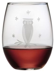 Owl Stemless Wine Glass (Set of 4)