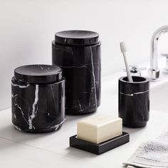 Black Marble Bath Accessories grey and black bathroom accessories Black Marble Bathroom, Marble Bathroom Accessories, Bathroom Colors, Bath Accessories, Marble Bathrooms, Black Bathrooms, Pink Marble, Marble Top, West Elm