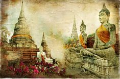 Illustration about Ancient cities of mysterious Thailand - artwork in painting style. Illustration of historic, garden, architecture - 13998744 Baby Room Art, Kids Room Art, Mermaid Kids Rooms, Southeast Asian Arts, Tropical Art, Photo Wallpaper, Digital Illustration, Find Art, Framed Artwork