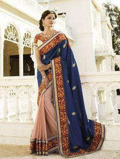 Blue and Peach Bemberg Saree Saree with Embroidery Work