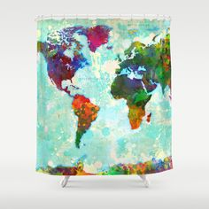Abstract World Map Shower Curtain by Gary Grayson . A switch from Saturday Knight's map curtain