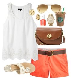 OOTD by classically-preppy on Polyvore featuring rag & bone, Jack Rogers, Tory Burch, Michael Kors, Ray-Ban, Warehouse, Essie, crossbody bags, aviator sunglasses and chino shorts