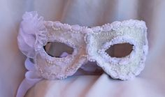 Leather and White Lace and Brocade Masquerade Ball Mask Eye Mask
