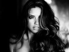 adriana lima, b&w, beautiful, black and white, brunette - inspiring picture on Favim.com