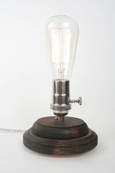 Pedestal Lamp II- Minimalist Table Lamp, Exposed Edison Bulb Lighting, Dark Walnut $60.00
