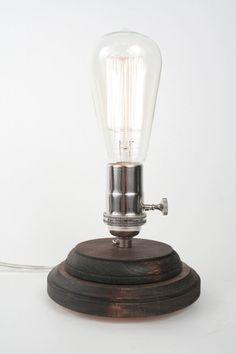 Pedestal Lamp II- Minimalist Table Lamp, Exposed Edison Bulb Lighting, Dark Walnut $60.00