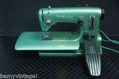 Green vintage sewing machine