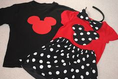 Minnie Mouse and Mickey Mouse outfits for Disney trip.