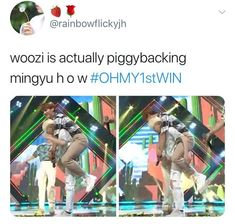 Seventeen Woozi giving Mingyu a piggyback Wonwoo, Jeonghan, The8, Seungkwan, Diecisiete Memes, Funny Kpop Memes, Seventeen Memes, Seventeen Woozi, K Pop